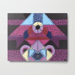 Purple, Magenta & Black Geometric Abstract Metal Print