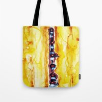 totem Tote Bags featuring Totem by Jose Luis