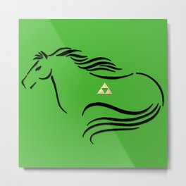 Epona with Triforce Stylized Inking Metal Print