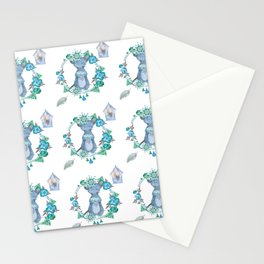 Lufkin Mouse Repeat Pattern Blue Illustration - Bagaceous Stationery Cards