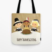thanksgiving Tote Bags featuring Happy Thanksgiving by Sara Showalter