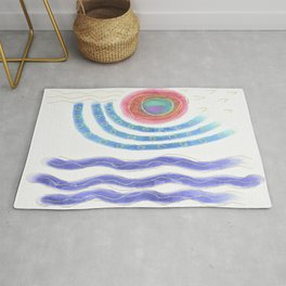 Sun and Sea Abstract Digital Painting Rug