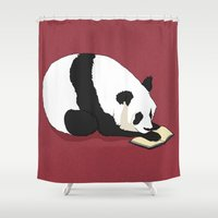 reading Shower Curtains featuring Reading Panda by Ursula Rodgers