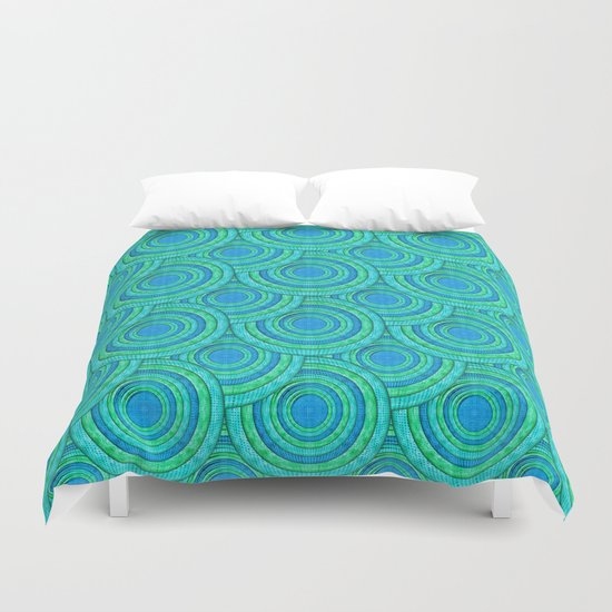 Teal Parasols Pattern Duvet Cover