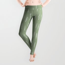 Raindrop Boho Abstract Pattern, Sage Green Leggings