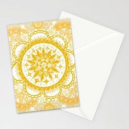 Orange Kaleidoscope Patterned Mandala Stationery Cards