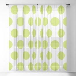 Mid Century Modern Polka Dots 565 Chartreuse Green Sheer Curtain