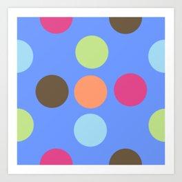 Retro Polka Dot - Denim Blue Art Print