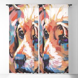 fun English Cocker Spaniel bright colorful Pop Art painting by Lea Blackout Curtain