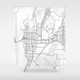 Kelowna Map, Canada - Black and White  Shower Curtain