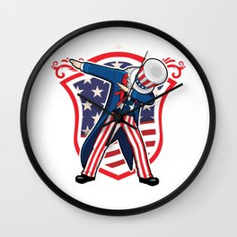 USA America 4th Of July Independence Day Freedom Dabbing Dabber Gift Wall Clock