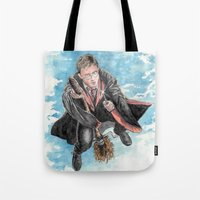 harry potter Tote Bags featuring Harry Potter  by Dave Seedhouse.com