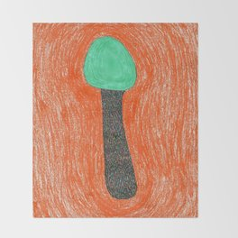 green mushroom with colorful stem floating in orange colored drawing by cecilia lee Throw Blanket
