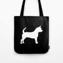 Chihuahua silhouette black and white pet art dog pattern minimal chihuahuas Tote Bag