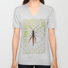 Grasshopper in lace curtain Unisex V-Neck