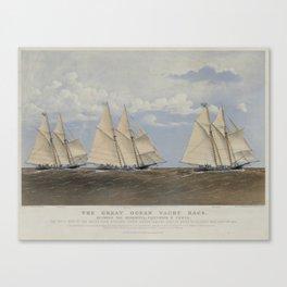 Vintage Yacht Race Illustration (1867) Canvas Print