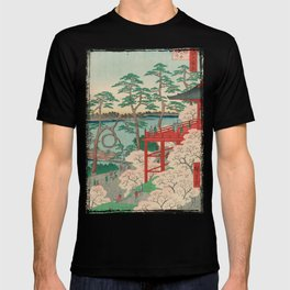Spring Blossoms and Pond Ukiyo-e Japanese Art T-shirt