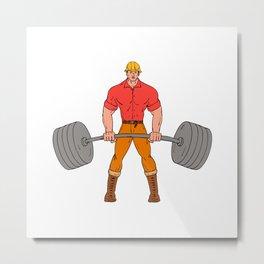 Buffed Lumberjack Lifting Weights Cartoon Metal Print