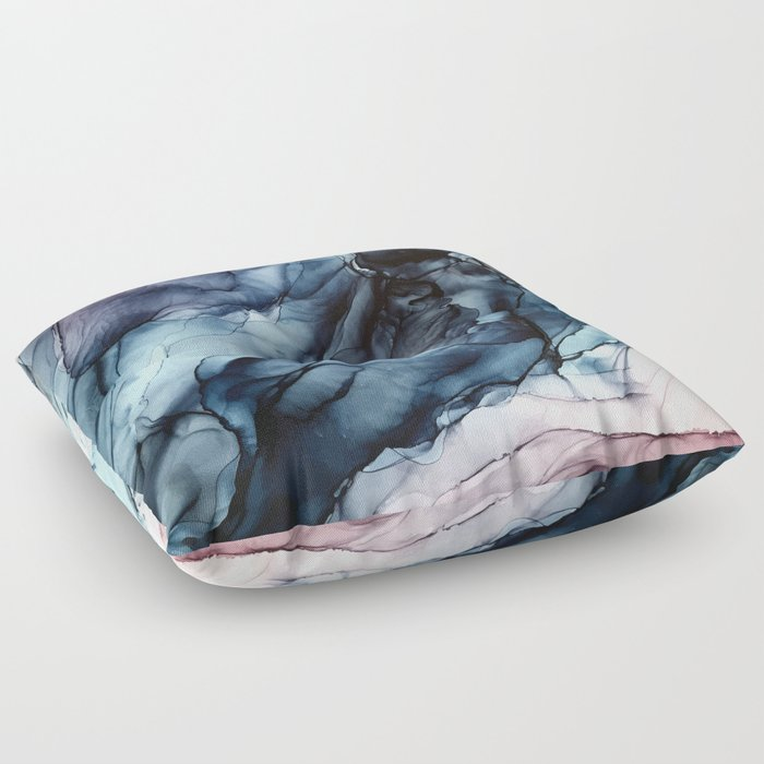 Blush and Darkness Abstract Paintings Floor Pillow