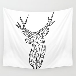 Black Line Faceted Stag Trophy Head Wall Tapestry