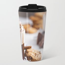 Messy hot chocolate, cream and marshmallows and a choc-chip cookie Travel Mug