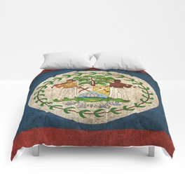 Old and Worn Distressed Vintage Flag of Belize Comforters
