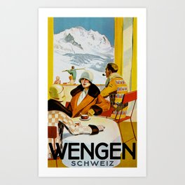 Vintage Wengen Switzerland Travel Art Print