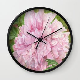 Pink Peony Floral Watercolor Original Painting Botanical Garden Flower Detailed Realism Wall Clock