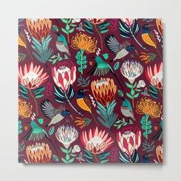 Sunbirds and Proteas On maroon Metal Print