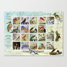 Birds of a Feather Postal Collage Canvas Print