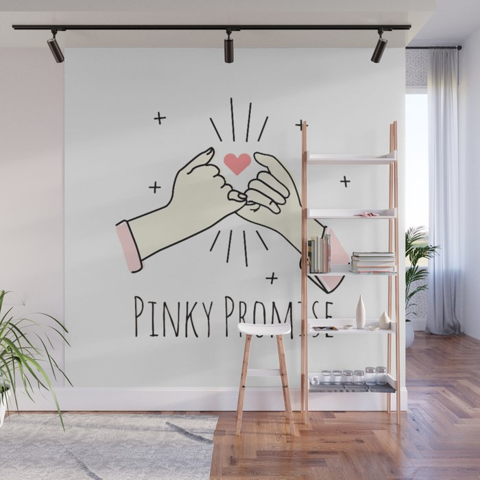 Hand Drawn Pinky Promise Wall Mural
