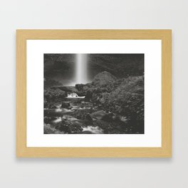 Latourell Falls Waterfall II - Black and White Framed Art Print