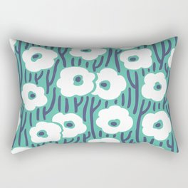 Mid Century Modern Wild Flowers 672 Turquoise and Blue Rectangular Pillow
