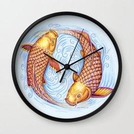 Pisces Fish Yin Yang Mandala Wall Clock