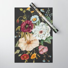 Colorful Wildflower Bouquet on Charcoal Black Wrapping Paper