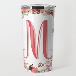 Personal monogram letter 'M' flower wreath Travel Mug