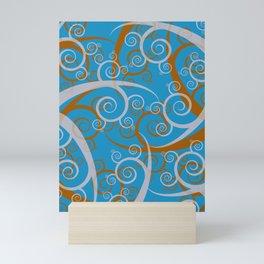 Blue Swirl Pattern Mini Art Print