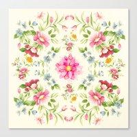 folk Canvas Prints featuring folk floral by clemm