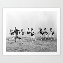 Nurses in Gas Masks - Vintage Military Photo Art Print