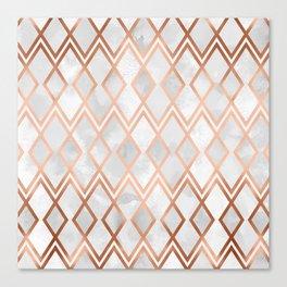 Copper & White Geo Diamonds Canvas Print