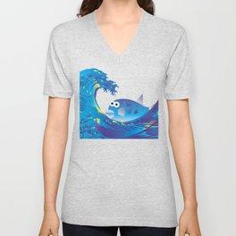 Hokusai Rainbow & Globefish  Unisex V-Neck