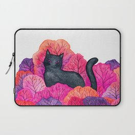 Pink Forest Black Cat Watercolor Laptop Sleeve