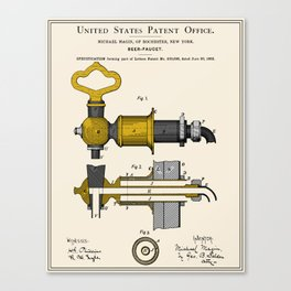 Beer Faucet Patent Canvas Print