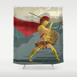 epic spartan soldier in the rain Shower Curtain