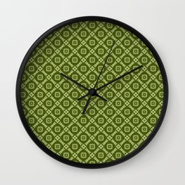 Olive Green Retro Feeling Diamonds and Squares Pattern Wall Clock
