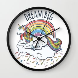 Dream Big Rainbow Unicorn Wall Clock