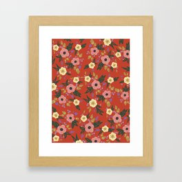 Vermillion Floral Framed Art Print