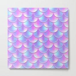Violet Mermaid Pattern, Holographic Fish Scale Print Metal Print
