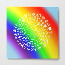 Rainbow Love Symbol Mandala Metal Print