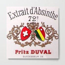 Vintage Absinthe Liquor Aperitif Fritz Duval Pontarlier Advertising Poster Metal Print